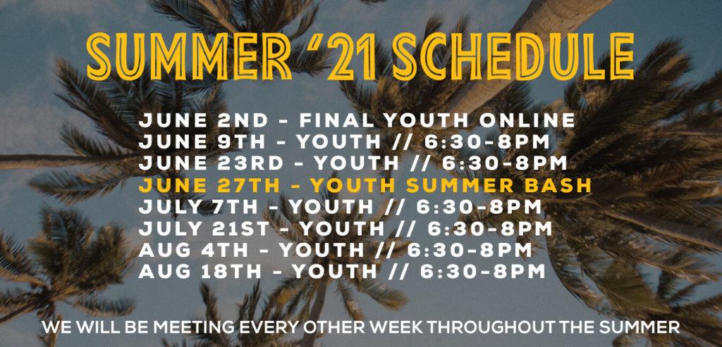 Youth Summer Schedule